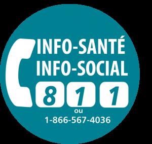 Logo 811, pour Info-Santé et Info-Social composez le 811 ou le 1-866-567-4036