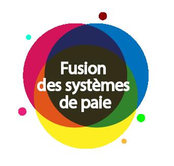 Bouton dirigeant vers la page d'information sur la fusion des système de paie.