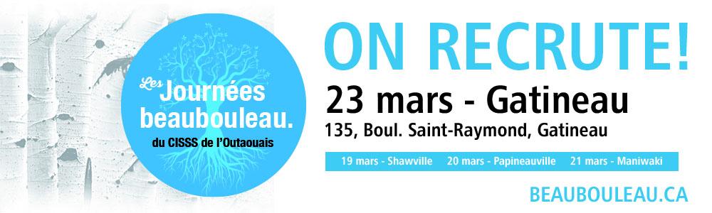 23 mars : salon d'emploi Beaubouleau à Gatineau, au 135, boulevard St-Raymond.