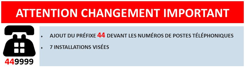 Attention changement important. Ajout du préfixe 44 devant les numéros de postes téléphoniques. 7 installations visées.